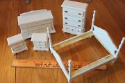 Vintage Doll House Furniture Wooden Bedroom Set Bed Dressers And Nightstands White