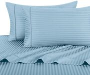Stripe Blue King Size Sheets, 4pc Bed Sheet Set, 100 Cotton, 300 Thread Count,