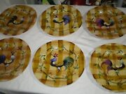 Mint Set 6 10 Strawberry Street 10.3/8 Dinner Plates Hand Painted Rooster Check
