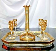 Antique Moser Clear Glass Raised Enamel Gilt Decanter Cordial Set C1800s W Tray