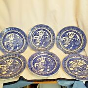 Set Of 6 Antique Stone China England Blue Willow Pattern 9 Dinner Plate