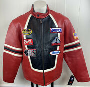 Vintage Max Usa Leather Jacket Racing Patches Large Red/black/white