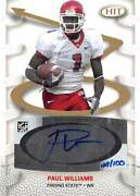 Paul Williams Autographed Football Card Fresno State 2007 Sage Hit Rookie Pa1