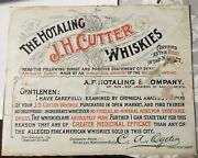 1893 Hotaling Jh Cutter Whiskey San Francisco Certificate Of Purity