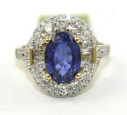 Natural Oval Blue Sapphire And Diamond Halo Solitaire Ring 14k Yellow Gold 4.28ct
