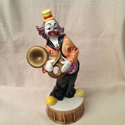Vintage Tall Capodimonte Clown With Tuba And Yellow Hat And Shoes 17.5 In.