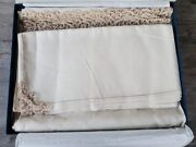 Stunning Italian Luxury Handmade Linen And Lacework Tablecloth And Napkins - Boxed