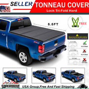 Fit 2004-2020 Ford F150 5.5and039 Ft Bed Lock Hard Solid Black Tri-fold Tonneau Cover