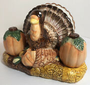 Turkey Napkin Holder With Pumpkin Salt And Pepper Shakers Fall Table Decor