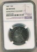 1887 Seated Liberty Silver Half Dollar-rare Date Ngc Graded Au Detail-free S/h