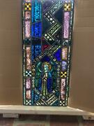 Beautiful Antique German Stained Glass Angel Window From A Closed Church - T6
