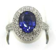 Natural Oval Blue Sapphire And Diamond Halo Solitaire Ring 14k White Gold 4.82ct