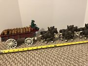 Vintage Cast Iron Beer Wagon-8 Clydesdale Hitch, Drive Team And Dog, Wood Barrels