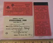 Rare 1955 Coney Island Hospital Steeplechase Park Ticket + Red Book