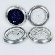 Sterling Silver Frank Whiting Pressed Glass Wine Bottle Coaster Set Of 4