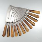 Antique French Knives, Horn Handles Silver Collars, Rococo, Stamped Barbier Fils