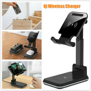Two-in-one Qi Standard Fast Qi Phone Tablet Wireless Charger Telescopic Bracket