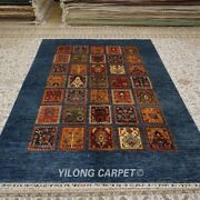 Yilong 6and039x8.5and039 Blue Four Seasons Hand Knotted Wool Carpet Handwoven Rug 108w