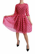 Dolce And Gabbana Dress Pink Polka Dots A-line Knee Length It38/ Us4/ Xs Rrp 1800