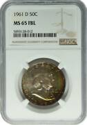 1961-d Franklin Silver Half Dollar Coin Ngc Ms-65 Full Bell Lines Colorful Tone