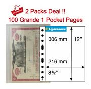 100 Lighthouse 1 Pocket Grande Poly Plastic Pages For Large A4 Documents Storage