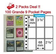 100 Lighthouse 9 Pockets Grande Poly Plastic Pages Trading/gaming Cards Storage