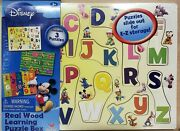 Disney Real Wood Learning Puzzle Box Includes 3 Puzzles - Abc's, Numbers, Shapes