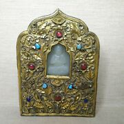Antique Himalayan Bronze-plated Box For Buddha 18th-19th Century.