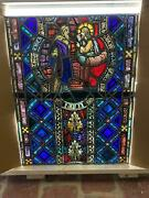 Beautiful Antique German Stained Glass Angel Window From A Closed Church - T7