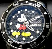 X Disney Mickey Mouse Ladies Black Watch 23770 Day-date Limited Edition