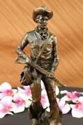 Vintage Cowboy W/gun Bronze By Miguel Lopez On A Marble Base With Free Shipping