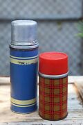 50+ Vintage Aladdin Red Plaid Tartan Thermos And Blue American Thermos Bottle Co.