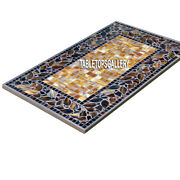 5and039x2.5and039 Marble Top Console Inlay Table Semi Precious Mosaic Hallway Decor H4004a