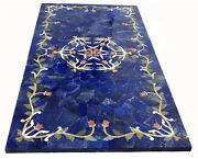 4and039x2and039 Marble Dining Top Restaurant Table Lapis Marquetry Inlay Stone Home Decor