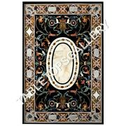 6and039x3and039 Black Marble Dining Table Top Marquetry Inlay Occasional Decoration E641b