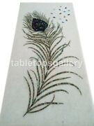 4and039x2and039 Marble Dining Table Top Paua Shell Peacock Feather Inlay Decorative W353a
