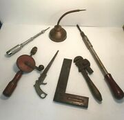Lot Of 7 Vintage Tools - 5 Carpentry Implements 1 Oil Dispenser 1 Pipe Wrench