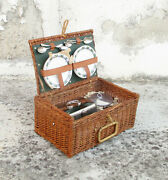 Vintage Wicker Picnic Basket For Four People. Collectible. Home Decor