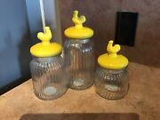 Yellow Chicken/rooster Canister Clear Ribbed Glass Canisters Set Of 3 Farmhouse