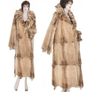 New Made In Italy Super Lux Sheared Golden Glow Female Mink Fur Frilled Coat