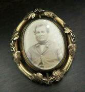 Rare Antique Victorian 10k Gold Mourning Swivel Brooch With Picture And Hair