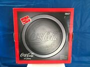 Coca Cola 13 Inch Clear Glass Embossed Round Serving Tray Platter Vintage 1990