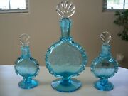 Vintage Blue Del Crackle Glass Perfume/bath Oil Decanters In Crystal And Blue