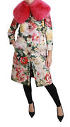 Dolce And Gabbana Jacket Pink Fur Floral Crystal Trenchcoat It40 / Us6/s Rrp 6200