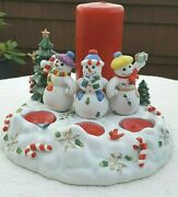Partylite Snowbell 3 Snowman Christmas Winter 4 Candle Holder Includes Candles