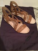 B Brian Atwood Angela Gladiator Studded Sandals Flats Leather Brown 9.5 M 295