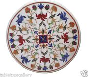 3and039x3and039 Marble Dining Table Top Lapis Carnelian Floral Inlay Outdoor Decors H1549