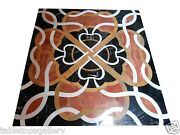 2.5and039 Black Marble Square Coffee Table Top Carnelian Mosaic Inlay Art Decor H1457