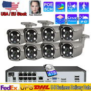 Best 5mp Outdoor 2-way Audio Cctv Poe Nvr Video Home Security Cameras System Lot