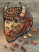 Puzzle Jigsaw 214 Pieces American Bison Best Gift New Unique Russian Wooden